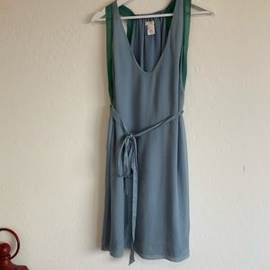 J Crew slate blue and moss green silk dress sz 6